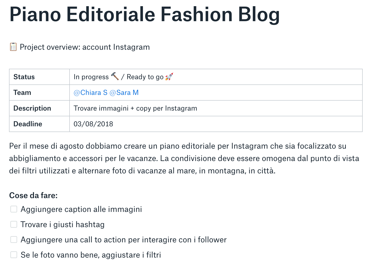 Piano editoriale fashion blog